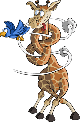 Ubange Safari Giraffe mit Knoten im Hals