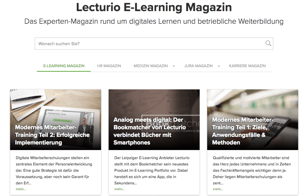 Beispiel für E-Learning Journale: Lecturio E-Learning Magazin