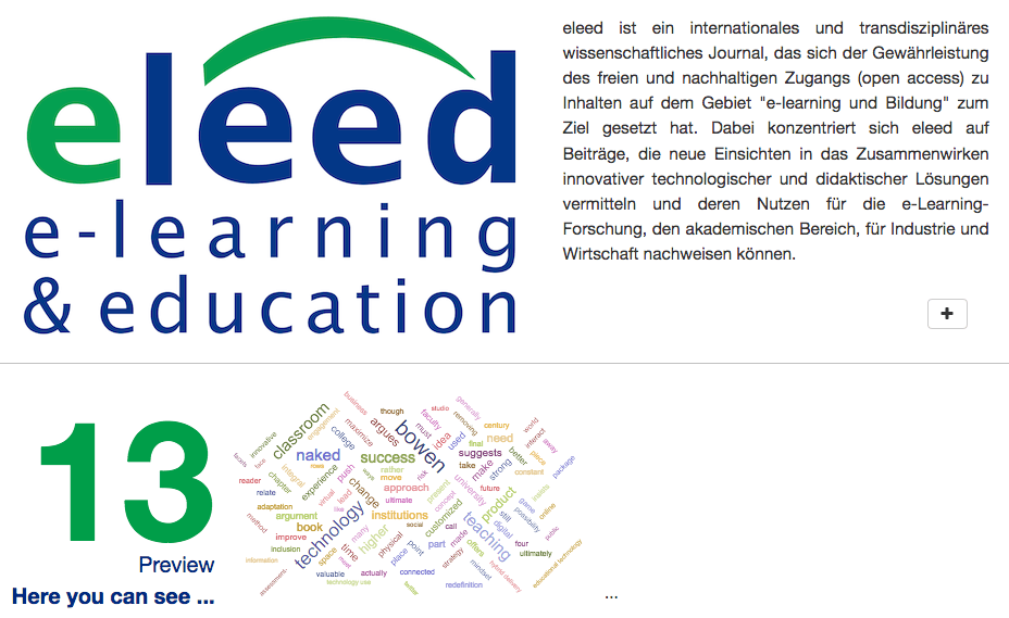 Beispiel für E-Learning Journale: Eleed
